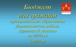 Проект бюджета граждан муниципального образования Далматовского района Курганской области на 2016 год